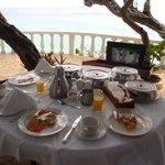 Breakfast spread on the veranda