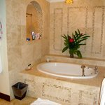 One part of the incredible bathroom - with daily fresh floral arrangement