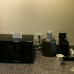 amenities including regrigerator and coffee maker