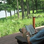 Reading and relaxing on the very private deck.