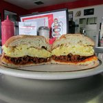 Our Special Pork Chorizo and eggs Breakfast Sandwich