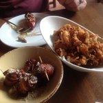 bacon wrapped dates, chorizo and fried calamari