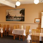 Inside our cosy cafe with a view of old Irvine Town