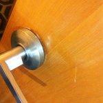 Inside doorknob coming off of door