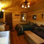 Bear's Den Cabin bed and sitting area