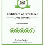 Certificate of Excellence Award 2013; second year running