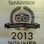 Travellers' Choice Award 2013; second year running