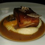 24 hour słów cooked pork belly, port wine reduction and fresh black truffles. ..AMAzing!!