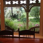 view from breakfast area at Foxingham Farm, come enjoy thd gardens