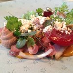 Smoked Duck Breast liver parfait apricot plum hazle nuts and brown butter