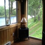 small fireplace with great views of the water
