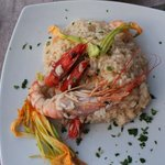 Risotto with champagne, shrimp, and prawns
