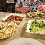 Garlic Fried rice, Greens and Chilli Flower Prawns