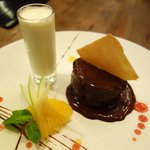 Chocolate! Chocolate Cake with a milkshake shot!