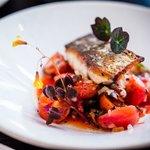 Stone Bass, sumac, charred tomatoes & red pepper