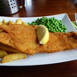 Breaded Haddock,peas and chips main course