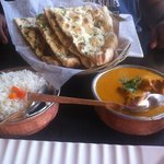 chicken korma, rice, naan