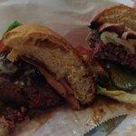 Burger Meats Bun Left -Smokin' Bacon, Right -Fiery