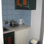 kitchen with fridge, sink, table, and one small burner to cook