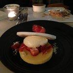 new dessert! lime merainge with strawberry sorbet! YUMMO!
