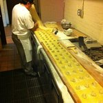 Fresh made pasta made daily, ravioli in the making
