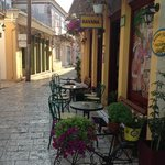 one of the extremely colorful streets in Lefkas town
