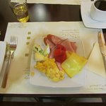 Lovely cheeses, cold meats and scrambled egg
