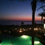 sunset view from oceanfront room on top floor overlooking view