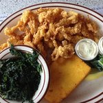 clam strips, spinach and polenta