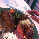 Black Angus Prime Rib of Beef with Baked Potato, Onions and Whiskey Demi-Glaze