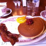 Wisconsin Cherry Pancakes with Bacon and Coffee from the breakfast menu