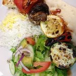 vegetarian kabab with rice and salad