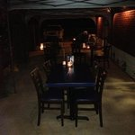 outside patio at Moustache with candle light, come and have a romantic dinner