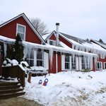 front of the inn with icicles