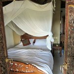 bed with mosquito net furnished