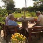 Enjoying tea in the gardens