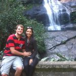 Us and waterfall at Tijuca National Forest