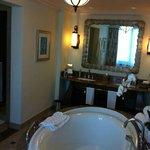 bathroom with massive bath