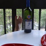 A great dinner from our ice chest to the lodge's balcony.