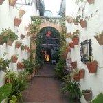 Preciosa entrada al restaurante haciendo honor a los patios cordobeses