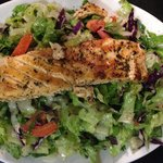 My all time favorie! Salmon salad, delicously seasoned with the house dressing, and topped over