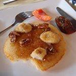 Cassava Pancakes with Pecan Caramel Sauce
