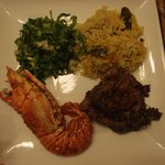 Fried lobster, grilled flank steak and pumpkin rice