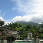 view of Arenal volcano from pool