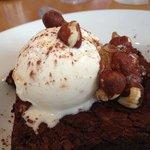 brownie with hazelnut praline