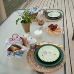 Breakfast on outdoor deck