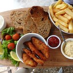 Humous and granary bread, fish goujons and chunky chips