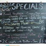 Specials menu including sharing platters