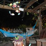 patio area with hammocks, perfect place to read a book or relax after a long day