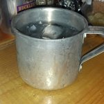 Water in a tin cup